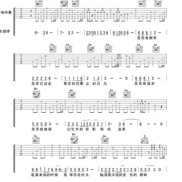 [伤]简化版吉他简谱1 - 我的歌谱子 - 陶敏剑的相册