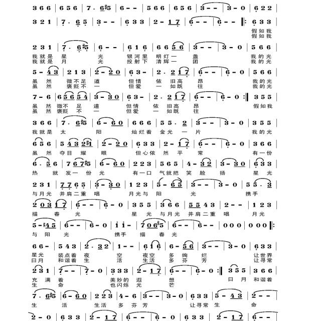 星光 月光 阳光 - 原创歌曲简谱 - 无语听涛(吴基哲)