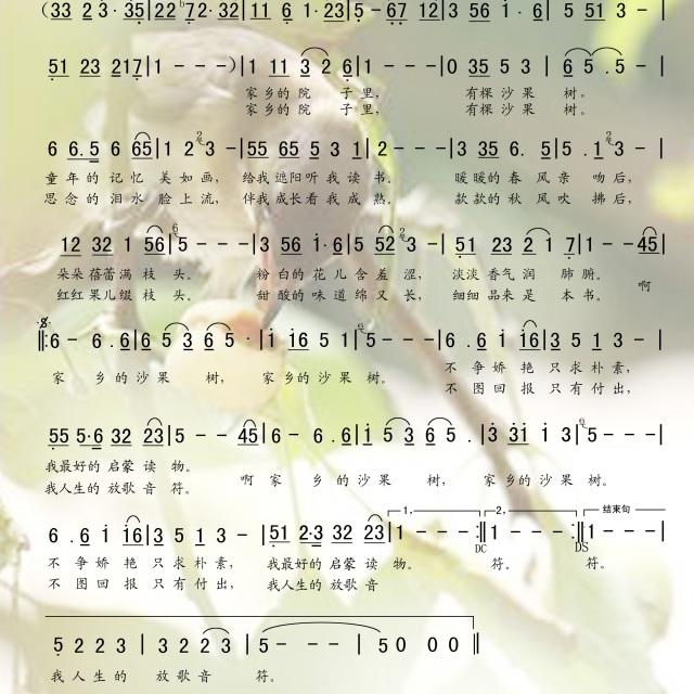 家乡的沙果树 - 原创歌曲歌谱 - 日月经天(刘明)的