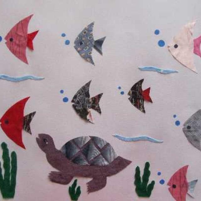 布贴画 乌龟和热带鱼 手工作品 bx 冰雪思语的相册 5SING中国原创音乐