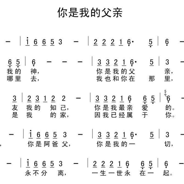 你是我的父亲 歌谱 亲近耶稣 星空旋律的相册 5SING中国原创音乐基地