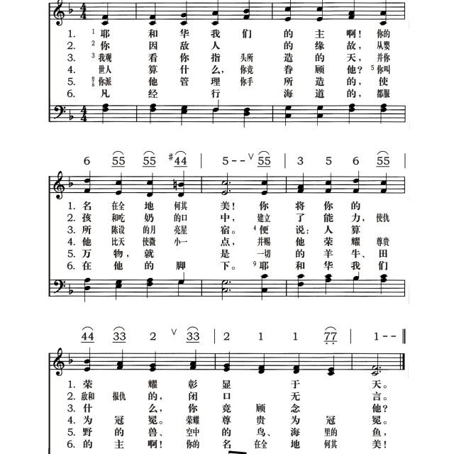 诗篇第八篇 - 耶和华的歌歌谱 - 平安※幸福的相册