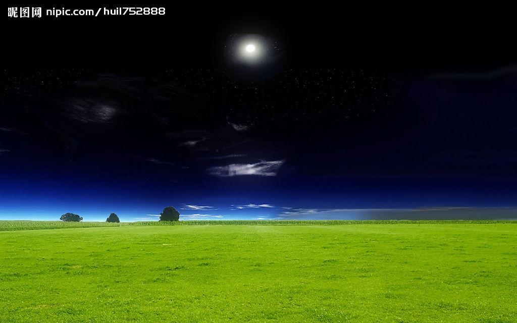 草原的夜色_坐在草原上看月亮